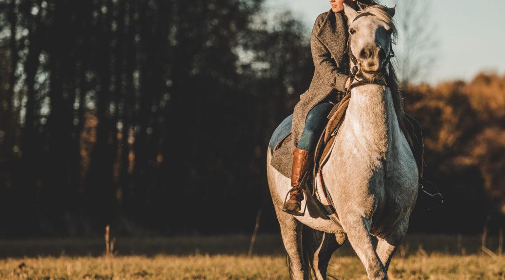 Dziewczyna jeżdżąca konno